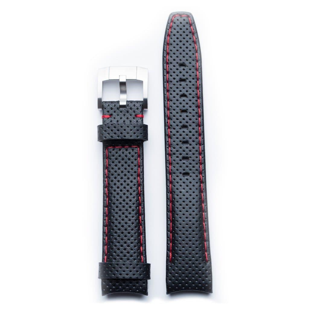 Everest læderrem med spænde - Black/Red