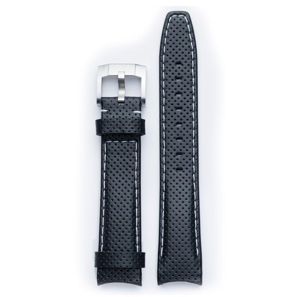 Everest læderrem med spænde - Black/White