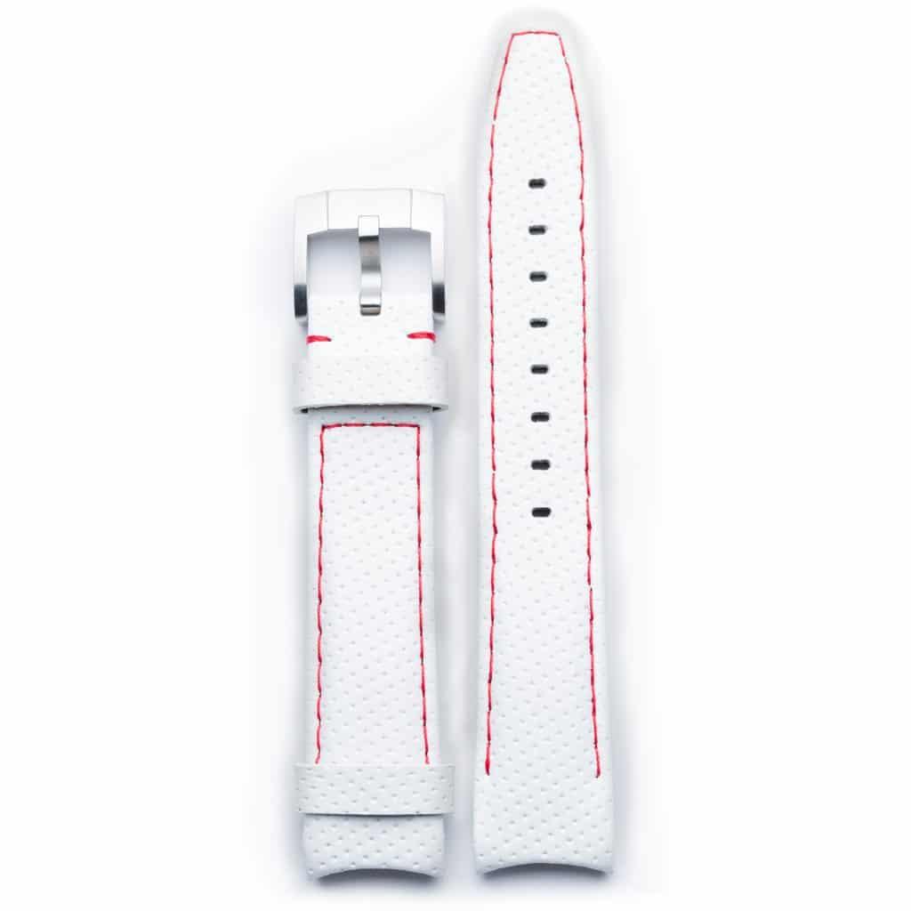 Everest læderrem med spænde - White/Red