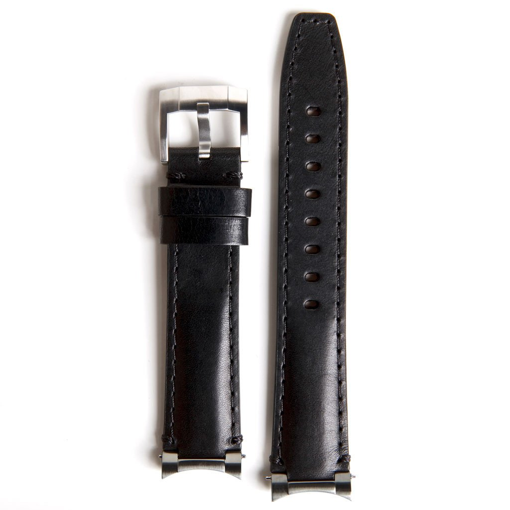 Everest læderrem med stål end link - Black/Black
