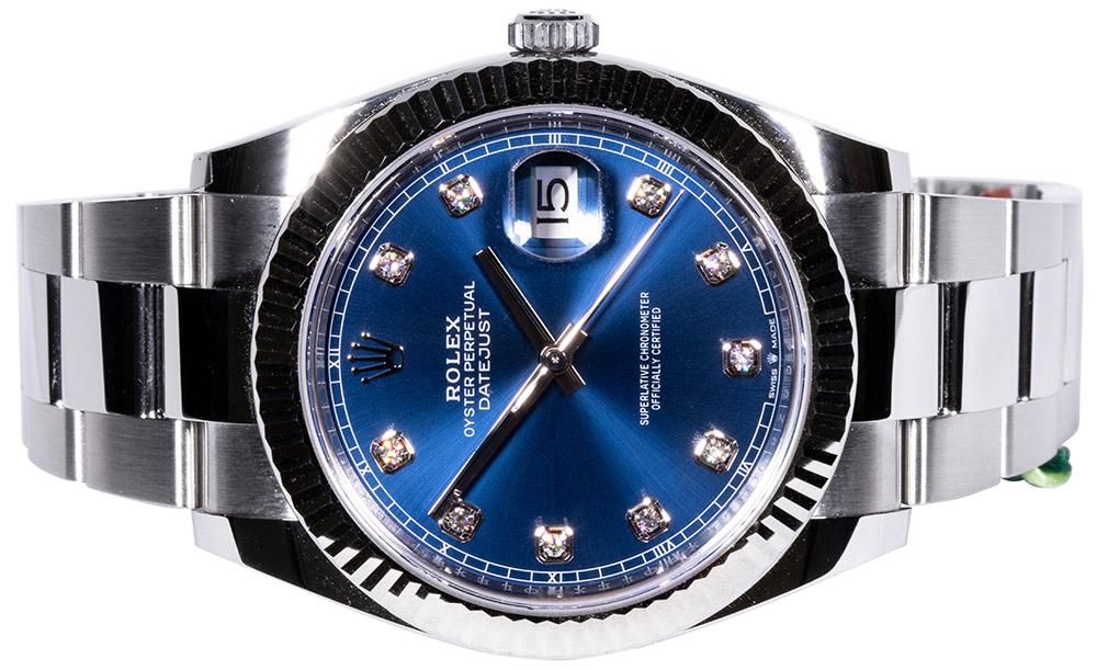 Rolex Datejust 41, Blå, Diamant, Oyster