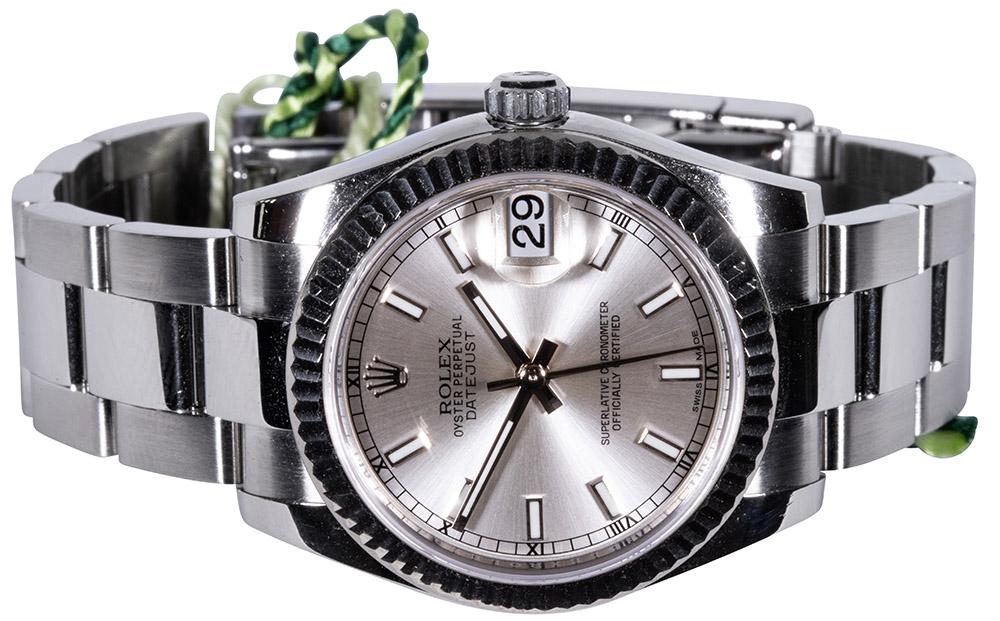 Rolex Datejust 31, Sølv, Indeks, Oyster