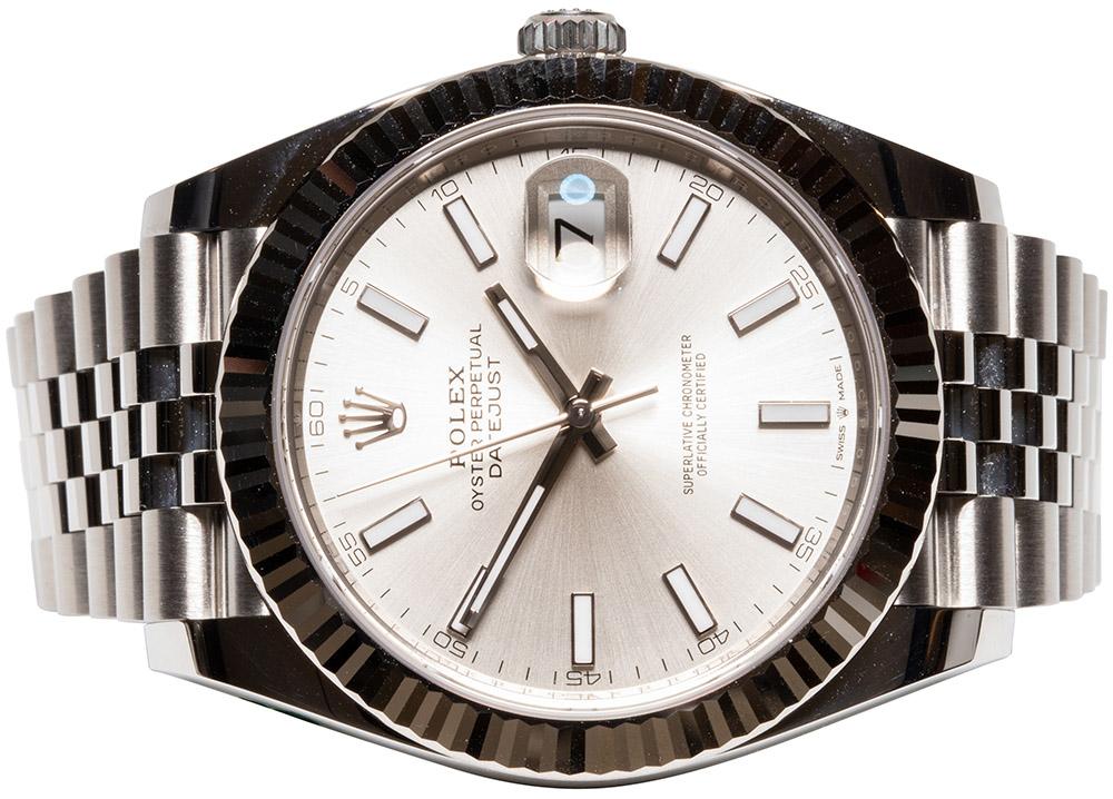 Rolex Datejust 41, Sølv, Indeks, Jubilee