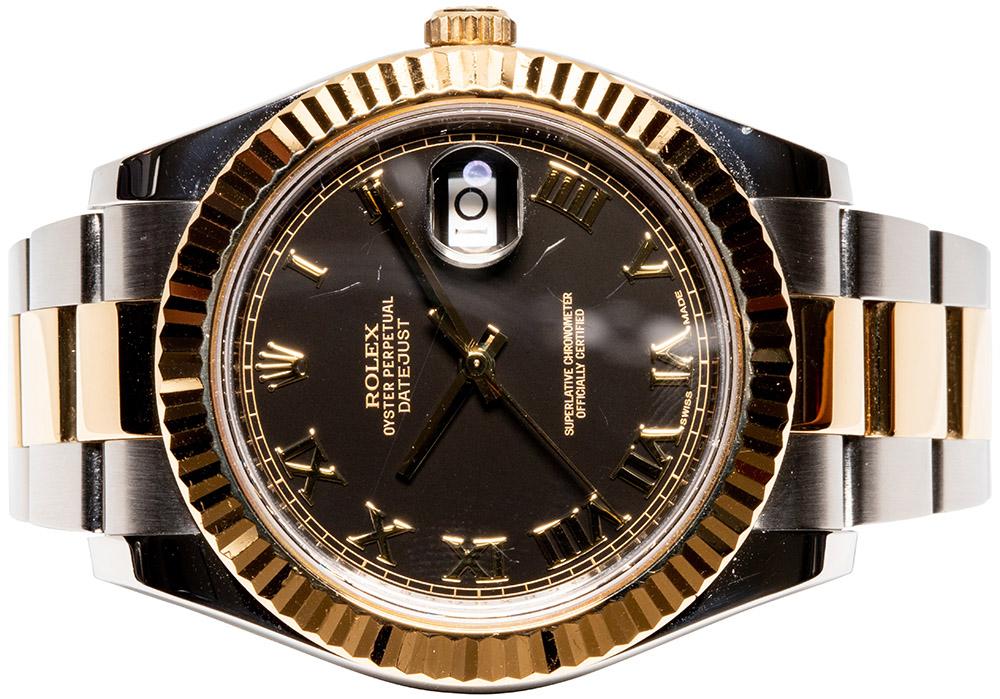 Rolex Datejust II 116333 Sort skive, Romersk, Oyster