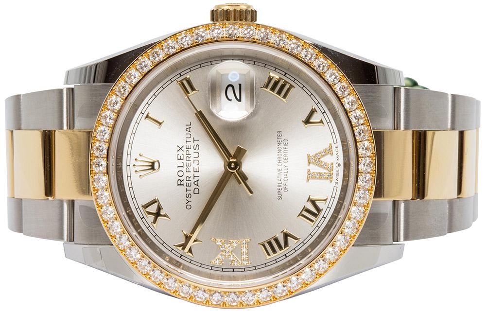 Rolex Datejust 36mm Sølv Skive, Diamant, Oyster 126283RBR